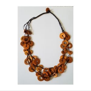 Short Wooden Circle Necklace & Earring